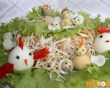Пошаговый рецепт с фото приготовления классического салата Гнездо в домашних условиях