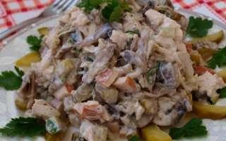 Вкусный салат с жареными грибами опятами и курицей – простой пошаговый фото рецепт приготовления в домашних условиях