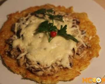Драники с грибами и сыром, запеченные в духовке, – пошаговый фото рецепт приготовления в домашних условиях