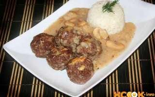 Фрикадельки из говядины — рецепт с фото, как приготовить в духовке с гарниром из риса и с грибным соусом