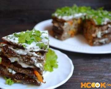 Домашний печеночный торт с морковью и луком слоями – приготовление по простому рецепту с пошаговыми фото