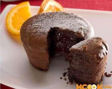 Пошаговый фото рецепт приготовления в домашних условиях шоколадных кексов с жидкой начинкой
