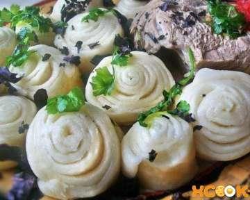 Слоеные хинкали — пошаговый рецепт с фото, как в домашних условиях вкусно приготовить розочки
