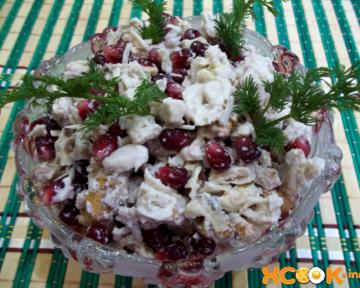 Полезный салат из граната и грецких орехов – вкусный фото рецепт приготовления с курицей в домашних условиях