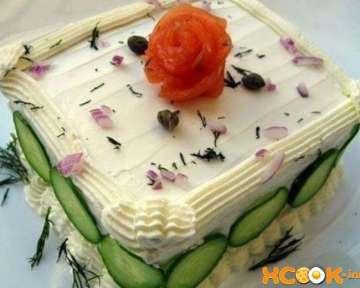 Бутербродный торт с лососем – пошаговый рецепт с фото приготовления