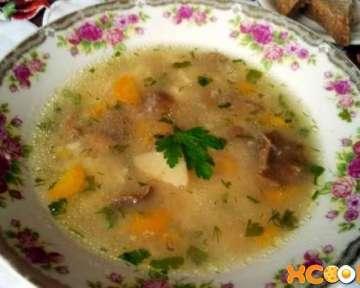 Фото рецепт, как приготовить суп из грибов баранов (грифолы курчавой)
