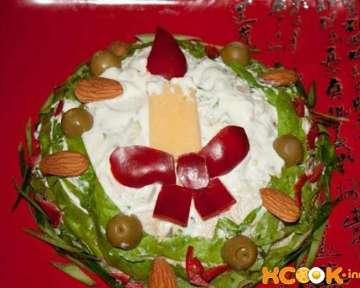 Салат «Свеча» с курицей – пошаговый рецепт с фото блюда для новогоднего или романтического ужина