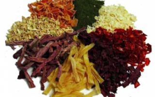 Сушеные овощи – хранение заготовок, использование в кулинарии